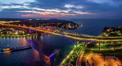 Port Huron Photograph - Blue Water Bridge At Dusk, Port Huron by Panoramic Images