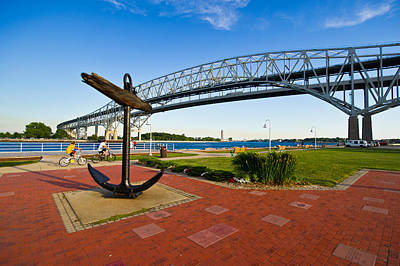 Blue Water Bridge At Port Huron Art Print by Panoramic Images