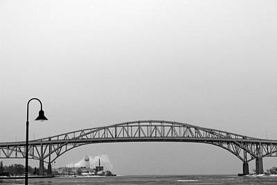 Photograph - Blue Water Bridge With Lamp 2 Bw by Mary Bedy