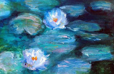 Painting - Blue Water Lilies by Lauren Heller