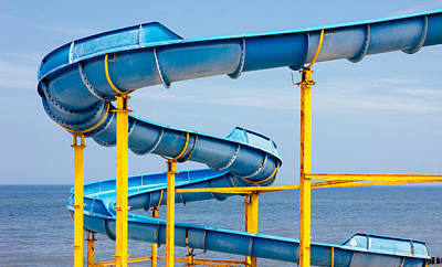 Slider Photograph - Blue Water Slide by Pati Photography