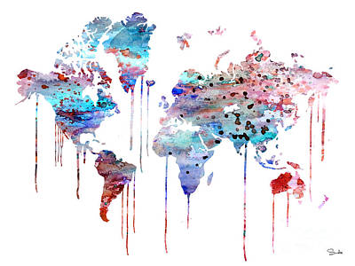 World Map Painting - Blue Watercolor Map by Luke and Slavi