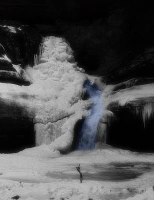 Blue Waterfall Frozen Landscape Art Print