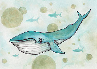 Room Painting - Blue Whale by Melissa Rohr Gindling