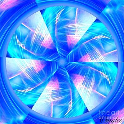 Painting - Blue Wheel Inflamed Abstract by Saundra Myles