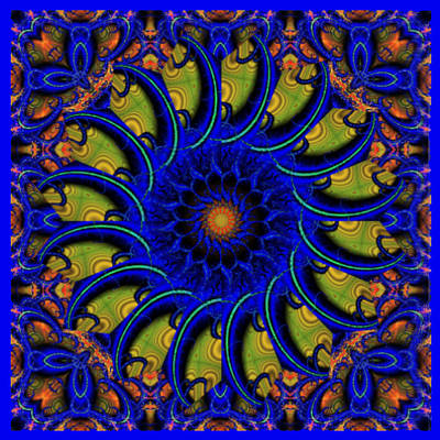 Blue Whirligig Art Print