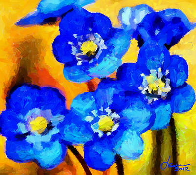 Blue Wild Flowers Tnm Art Print by Vincent DiNovici