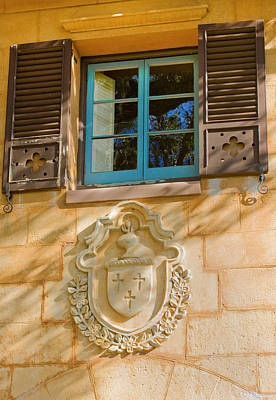 Photograph - Blue Window And Medallion by Rich Franco