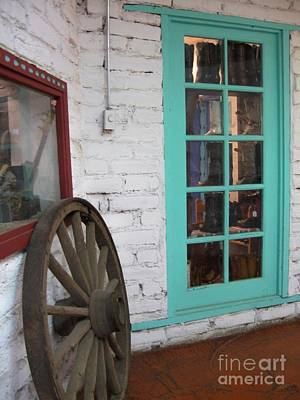 Art Print featuring the photograph Blue Window And Wagon Wheel by Dora Sofia Caputo Photographic Art and Design