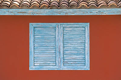 Photograph - Blue Window Shutter Of Aruba by David Letts