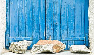 Blue Window Shutters Art Print by Tom Gowanlock