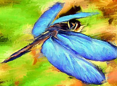 Digital Art - Blue Wings Dragonfly by Yury Malkov