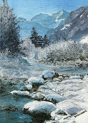Park Scene Painting - Blue Winter by Mary Ellen Anderson