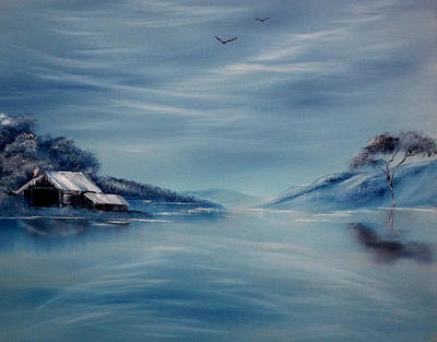 Drifting Snow Painting - Blue Winter Reflections by Cynthia Adams