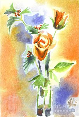 Painting - Blue With Redy Roses And Holly by Kip DeVore