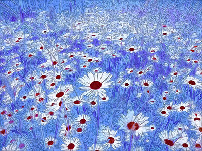 Florals Mixed Media - Blue With White Daisies by Georgiana Romanovna