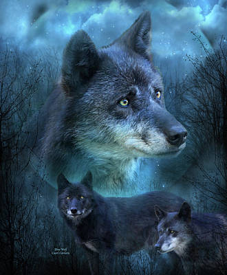 Blue Wolf Art Print by Carol Cavalaris