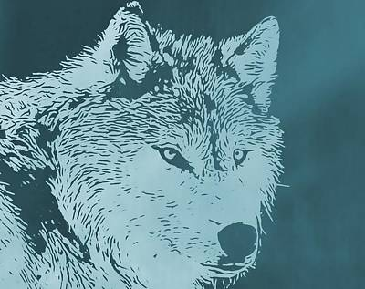 Wolf Mixed Media - Blue Wolf by Dan Sproul