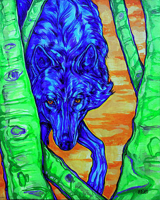 Wyoming Painting - Blue Wolf by Derrick Higgins