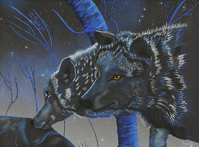 Blue Wolves With Stars Art Print by Mayhem Mediums