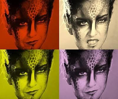 Golden Leopard Digital Art - Blue Woman Grrr Colors1 by Rob Hans