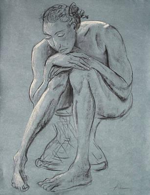 Blue Woman Of Melancholy Art Print