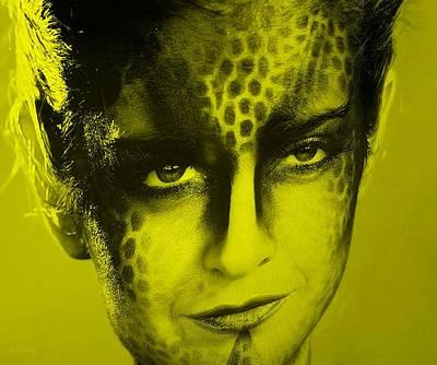 Golden Leopard Digital Art - Blue Woman Yellow by Rob Hans