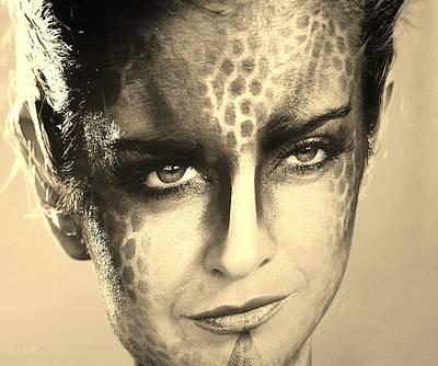 Golden Leopard Digital Art - Blue Woman Sepia by Rob Hans