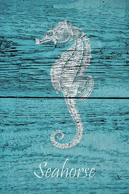 Blue Wood Seahorse Art Print by Cora Niele