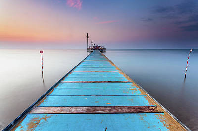 Tranquility Photograph - Blue Wooden Pier by Stee