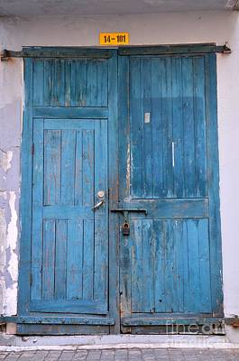 Photograph - Blue Wooden Weathered Door With Padlock by Imran Ahmed