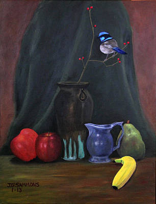 Blue Wren And Fruit Art Print by Janet Greer Sammons