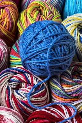 Thread Art Photograph - Blue Yarn by Garry Gay