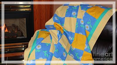 Blue Yellow And Daisies Patchwork Quilt Original by Barbara Griffin