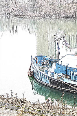 Duesseldorf Photograph - Bluebargedigitalsketch by Denvie Green
