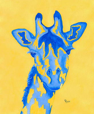 Giraffe Eyes Painting - Bluebelle by Rhonda Leonard