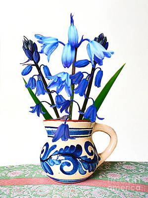 Decoupage Mixed Media - Bluebells In An Old Jug by Bishopston Fine Art