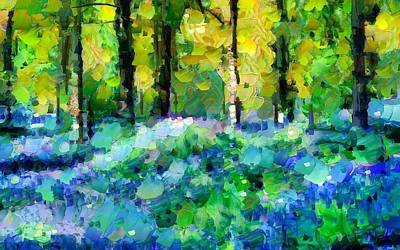 Abstract Flowers Mixed Media - Bluebells In The Forest - Abstract by Georgiana Romanovna