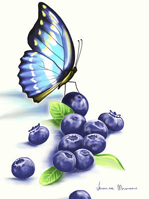 Macro Painting - Blueberries And Butterfly by Veronica Minozzi