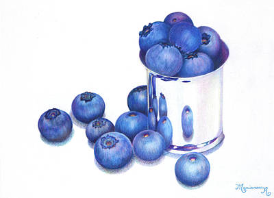 Painting - Blueberries And Silver by Mariarosa Rockefeller
