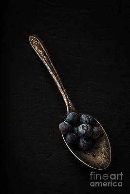 Blueberry Wall Art - Photograph - Blueberries On Silver Spoon by Edward Fielding