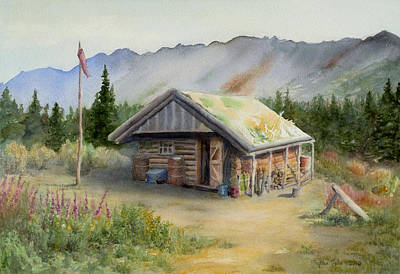 Flagpole Painting - Blueberry Camp by Phyllis Tate