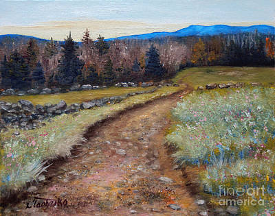Maine Roads Painting - Blueberry Field Early Spring by Laura Tasheiko