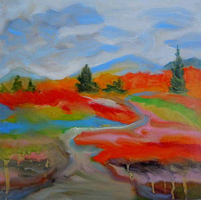 Maine Landscapes Painting - Blueberry Fields Maine by Francine Frank