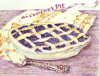 Blueberry Drawing - Blueberry Pie by Candace  Hardy