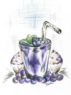Tasty Drawing - Blueberry Smoothie With Baked  Muffins by Teresa White