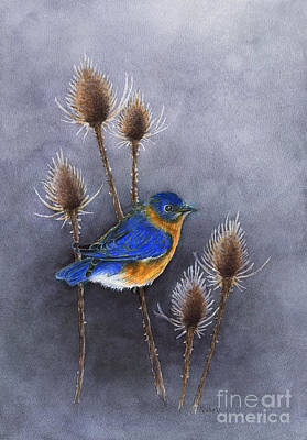 Painting - Bluebird Among The Thistles by Nan Wright
