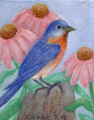 Painting - Bluebird And Cone Flowers by Jeanne Kay Juhos