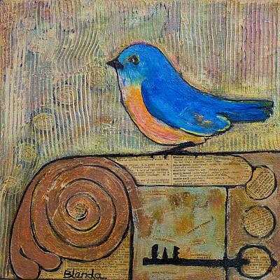 Bluebird Mixed Media - Bluebird Art - Knowledge Is Key by Blenda Studio