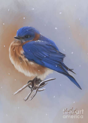 Digital Art - Bluebird In The Snow by Lena Auxier